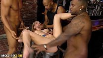 Smoking blonde gets bbc gangbang