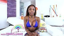 Sexy ebony teen girl swallows