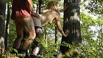 Fun outdoor gangbang with hot blond